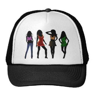 Mode-Mädchen-Modelle auf den Hüten der roter Netzmützen