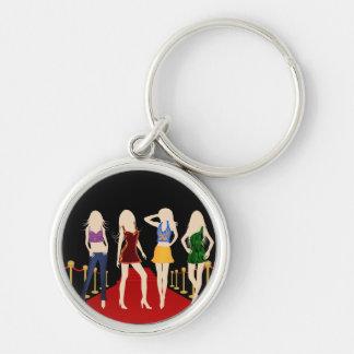 Mode-Mädchen-roter Teppich-erstklassige runde Silberfarbener Runder Schlüsselanhänger