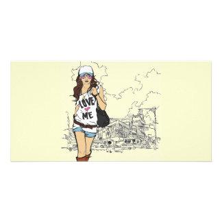 Mode-Mädchen-vektorillustration Bildkarten