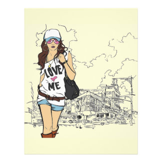Mode-Mädchen-vektorillustration Flyer