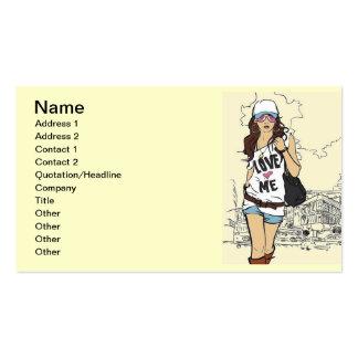 Mode-Mädchen-vektorillustration Visitenkarten