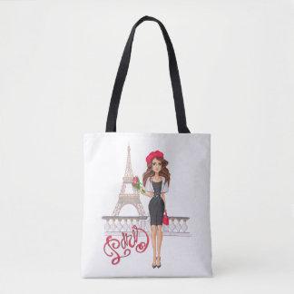 Mode-Paris-Mädchen handgemalt Tasche