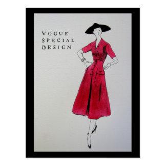 Mode-rote Kleiderpostkarte 1953 Postkarte