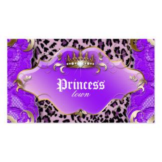 Mode-Schmuck-Geschäfts-Karten-Leopard-Spitze lila Visitenkartenvorlage