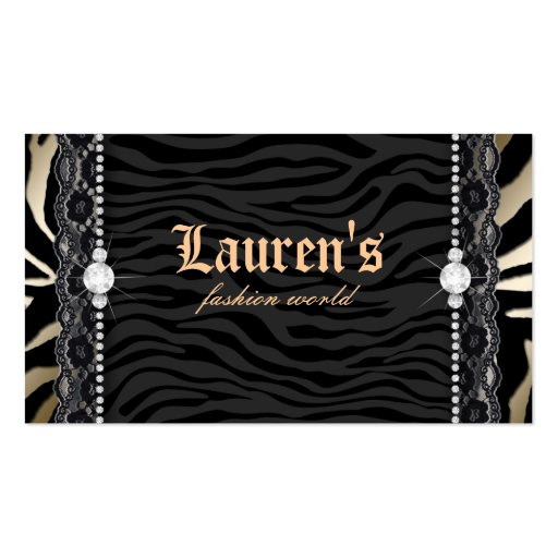 Mode-Schmuck-Spitzezebra-Leopard-modernes Gold Visitenkarten Vorlage