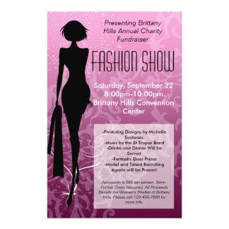 Mode-Show-Flyer, rosa Silhouette-Strudel