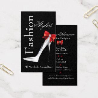 Mode-Stylist-Silber-Stilett mit rotem Bogen Visitenkarte