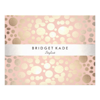 Mode-und Schönheits-Gold u. rosa gepunktetes 21,6 X 27,9 Cm Flyer