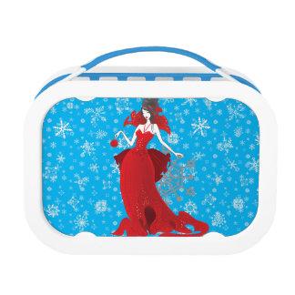 Mode-Weihnachtsstilvolle rote graue Illustration Brotdose