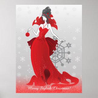 Mode-Weihnachtsstilvolle rote graue Illustration Poster