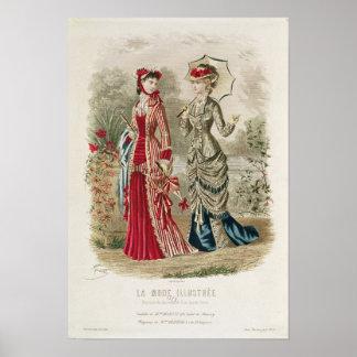 Modegeck, der Hüte und Kleider zeigt Poster