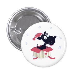 Modeknopf mit schwarzem Hund Runder Button 3,2 Cm