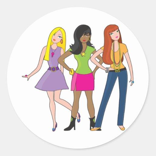 Modemädchen Runder Sticker