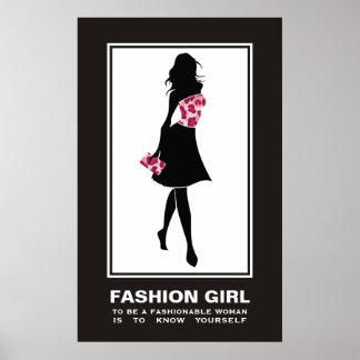 Modemädchen pinkleopard Druckplakat Plakat