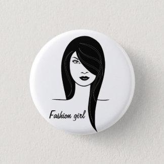 Modemädchen Runder Button 3,2 Cm