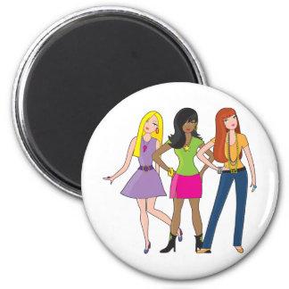 Modemädchen Runder Magnet 5,1 Cm