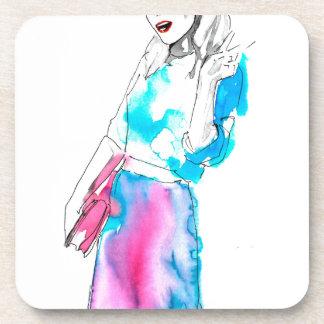 Modemädchen-Skizzeentwurf Cocktail Untersetzer