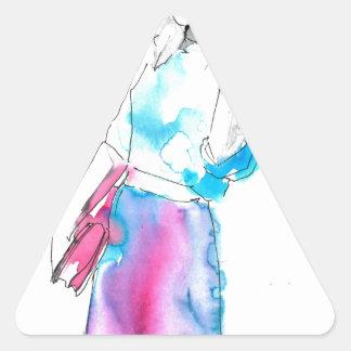 Modemädchen-Skizzeentwurf Dreiecks-Aufkleber