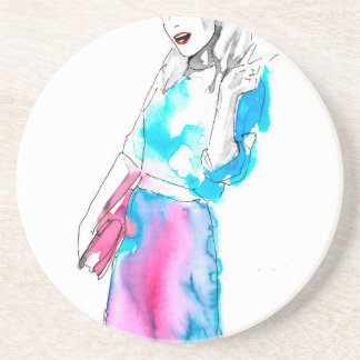 Modemädchen-Skizzeentwurf Getränkeuntersetzer