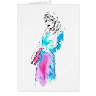 Modemädchen-Skizzeentwurf Grußkarte