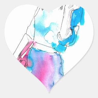 Modemädchen-Skizzeentwurf Herz Sticker
