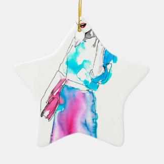 Modemädchen-Skizzeentwurf Keramik Stern-Ornament