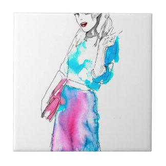 Modemädchen-Skizzeentwurf Kleine Quadratische Fliese