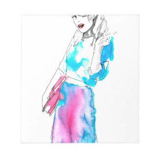 Modemädchen-Skizzeentwurf Notiz Blöcke