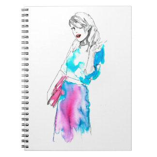 Modemädchen-Skizzeentwurf Notiz Buch