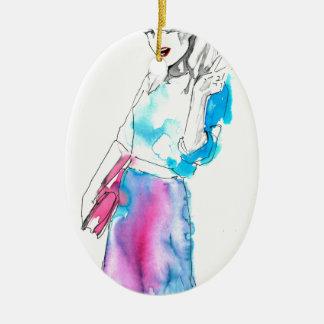 Modemädchen-Skizzeentwurf Ovales Keramik Ornament