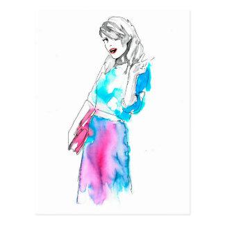 Modemädchen-Skizzeentwurf Postkarte