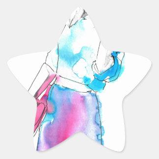 Modemädchen-Skizzeentwurf Stern Aufkleber