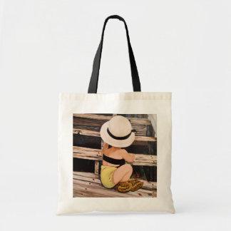 Modemädchenmalerei mit Hut und moccs Budget Stoffbeutel