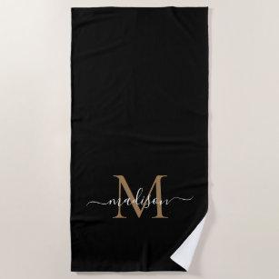 Modern Black Gold Monogram Feminine Chic Script Strandtuch