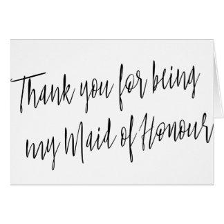 """Modern """"danke für Sein mein Mädchen der Ehre """" Grußkarte"""