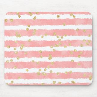 Modern erröten rosa Aquarellstreifen-Goldconfetti Mousepads