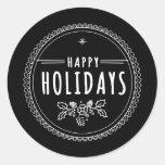 Modern Happy Holiday Round Black Christmas Sticker