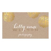 MODERN SCRIBBLE SPOT cute gold bold sketch kraft Business Card Templates