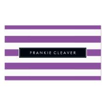 MODERN SIMPLE STRIPE PATTERN trendy bold purple Business Card
