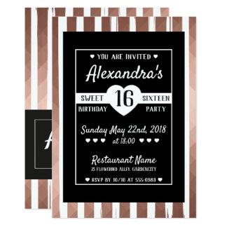 Moderne 16. Geburtstag-Einladung des rosa Karte