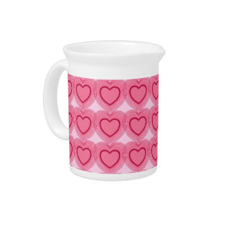 Moderne abstrakte Herzen - Azaleen-Rosa Getränke Pitcher