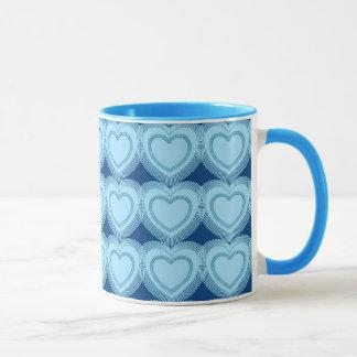 Moderne abstrakte Herzen - Himmel-Blau und Kobalt Tasse