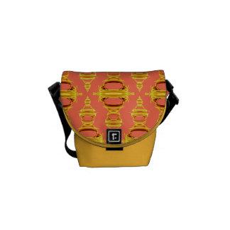 Moderne abstrakte Muster-Teiler 03 Goldlachse Kurier Tasche