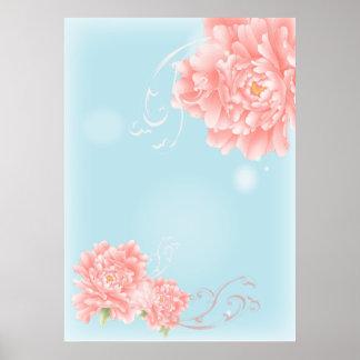 moderne abstrakte rosa girly mit Blumenmode Plakat
