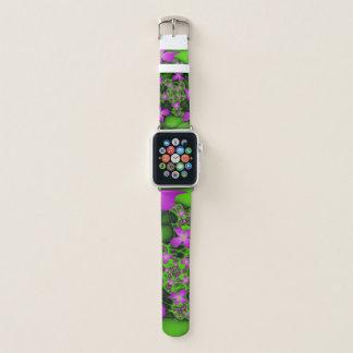 Moderne abstrakte rosa grüne Fraktal-NeonBlumen Apple Watch Armband