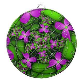 Moderne abstrakte rosa grüne Fraktal-NeonBlumen Dartscheibe