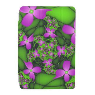 Moderne abstrakte rosa grüne Fraktal-NeonBlumen iPad Mini Hülle