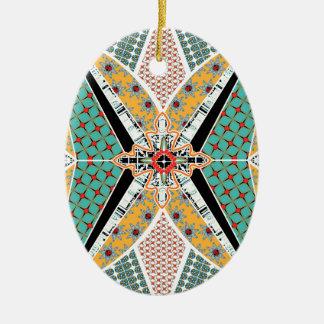 Moderne Afrika-Mitte-vibrierendes Muster Ovales Keramik Ornament