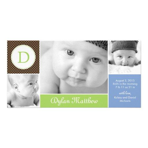 Moderne AnfangsBaby-Geburts-Mitteilung Personalisierte Photo Karte