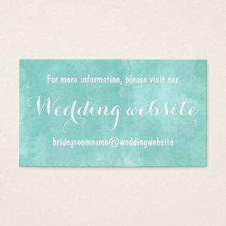 Moderne Aquagrün-Aquarell-Hochzeitswebsite Visitenkarten